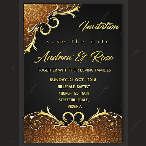 Wedding invitation card design template Template for Free