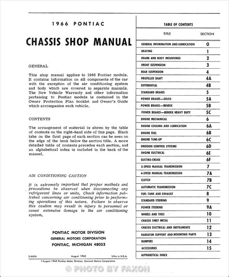 motor repair manual 1966 pontiac bonneville security system 1966 pontiac repair shop manual reprint bonneville grand prix catalina star chief