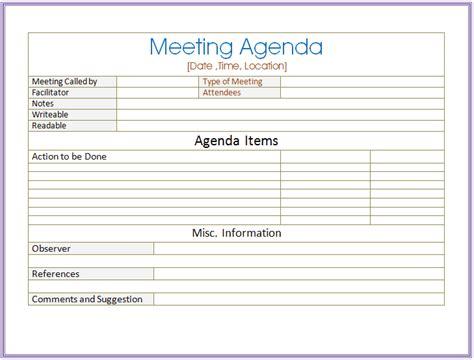 meeting agenda templates   write word