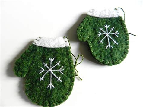 handmade christmas wool felt ornament snowflake on by