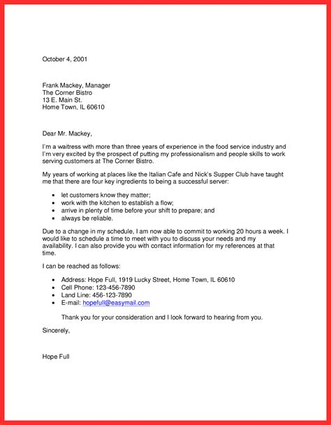 Cover Letter Exles Waitress by Waitress Application Resume Format