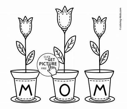 Birthday Coloring Mom Happy Printable Flowers Mothers