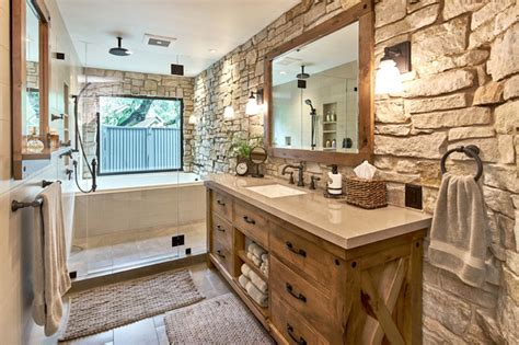 Rustic Bathrooms : Modern Master Retreat With Old World Flair