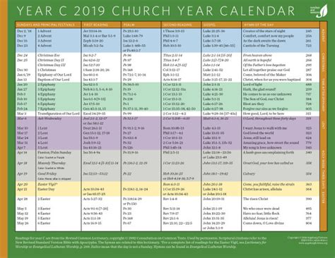 church year calendar year downloadable