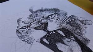 Stippling Drawing  Lion