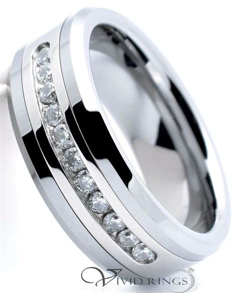 mens tungsten carbide ring channel cz wedding band ring 8mm size 7 5 to 5 ebay