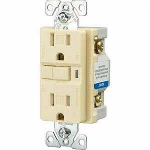 Eaton 20 Amp Tamper Resistant Gfci Decorator Duplex Receptacle  Almond-trvgf15a