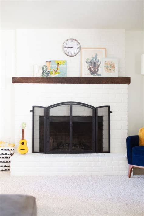 paint  brick fireplace white lovely