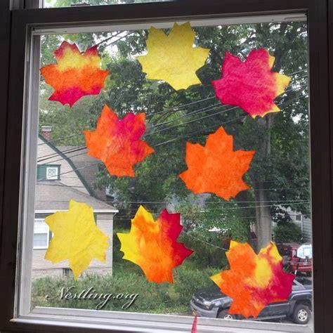 Herbstdeko Fenster Mit Kindern by Kaffeefilter Herbstbl 228 Tter Herbststimmung Fensterbild