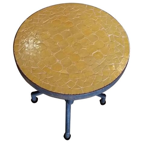 yellow table l base all yellow mosaic table wrought iron base for sale at 1stdibs