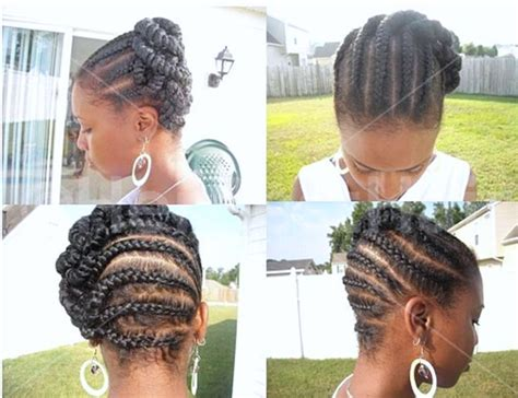 African American French Braid Updo Hairstyles