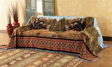 Black Bear Family Mountain Sofa Cover