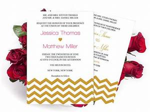 wedding invitation templates gold chevron printable With 5 by 7 wedding invitation template