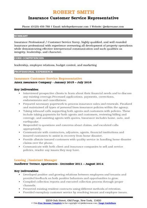 12313 insurance customer service representative resume insurance customer service representative resume sles