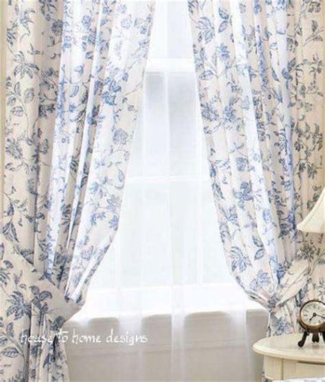 brighton blue white toile window curtain panel drape