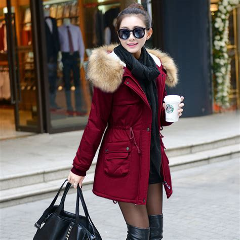 parka interieur fourrure femme 2015 winter jacket fashion parka slim outwear manteau hiver femme fur coats
