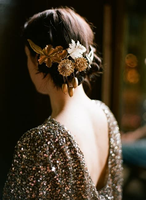 diy gold wedding hair accessories  wed