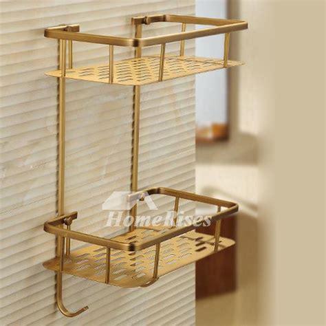 golden polished brass bathroom shelves  layer