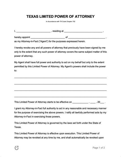 texas limited special power  attorney form