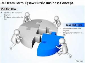 3d Team Form Jigsaw Puzzle Business Concept Ppt Graphics