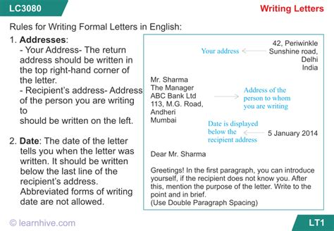 learnhive cbse grade  english  letter writing lessons