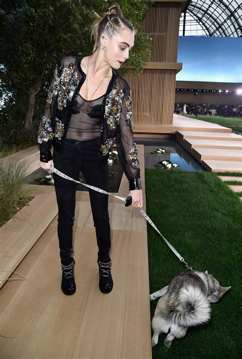 delevingne brought  dog  chanel couture front