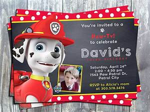 Paw patrol marshal birthday party printable invitation for Paw patrol birthday invitation