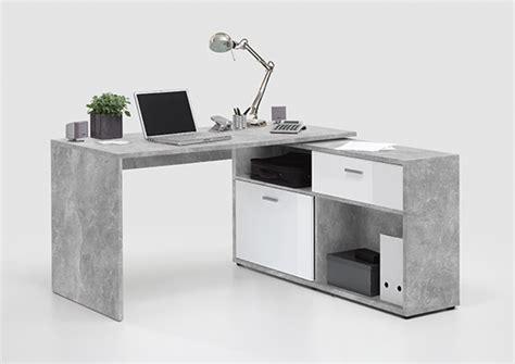bureau basika bureau d 39 angle diego 1 béton blanc brillant