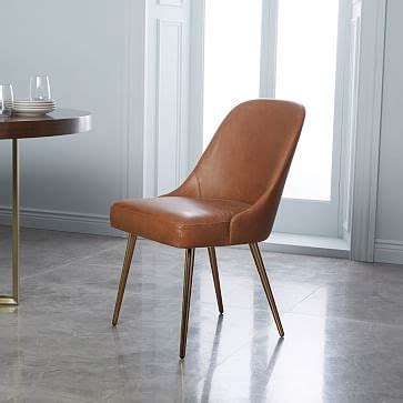 mid century leather dining chair saddleblackened brass