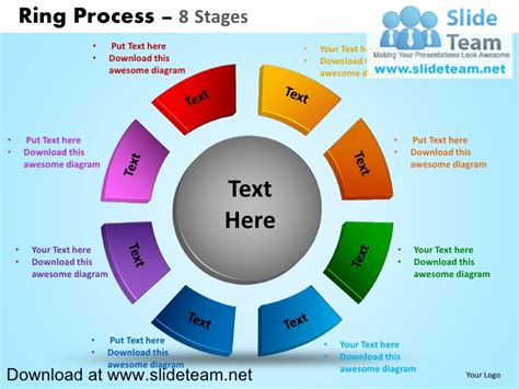 Ring Diagram by Display Pie Chart Process 8 Stages Powerpoint Diagrams And