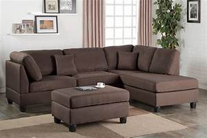 chocolate plush linen like fabric sofa sectional w With plush sectional sofa furniture