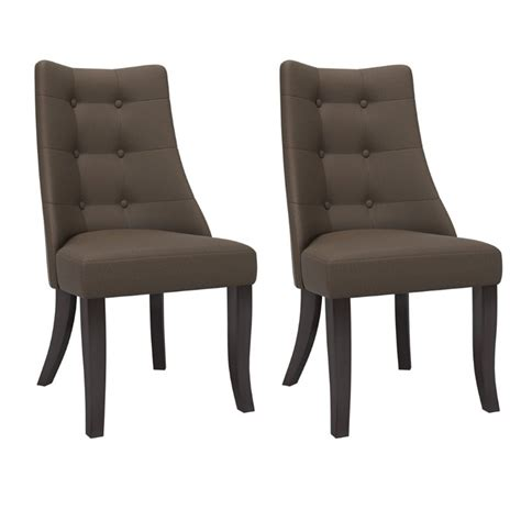 antonio button tufted dining accent chairs in brown grey