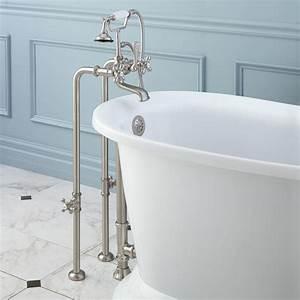 Freestanding Telephone Tub Faucet  Supplies  Valves And Drain - Cross Handles