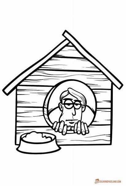 Coloring Pages Dog Houses Printable Inside Funny