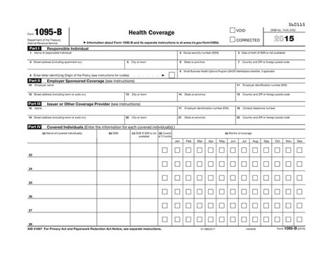 health insurance form 1095 b 1095 b health coverage irs copy for 2016 92636 5095l
