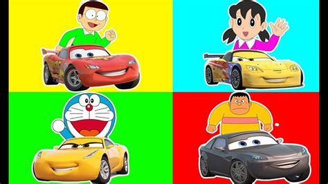Colors With Lightning Mcqueen Cars 3 Doraemon Trolls
