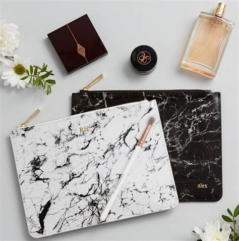 personalised monogram marble leather pouch  magpie decor notonthehighstreetcom