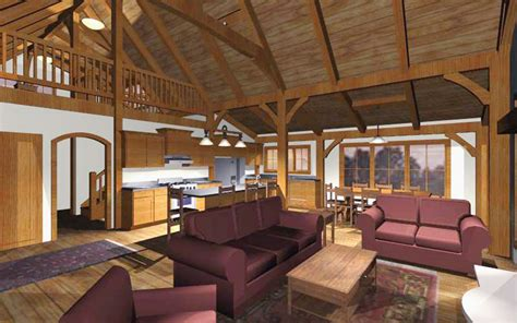 Open Cabin Home Plans For A Timber Frame Family Cabin