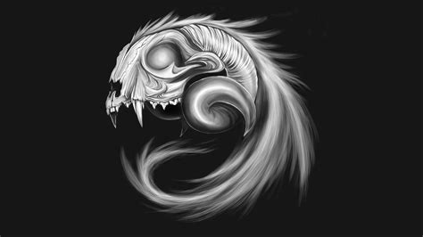 Animal Skull Wallpaper - minimalism gray background skull digital animals