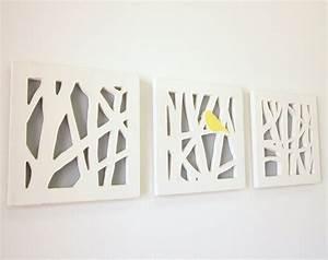Yellow bird wall art set triptych