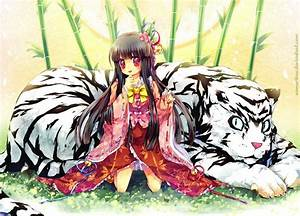 A cute Asian manga character poses with a white tiger in