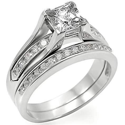princess cut stainless steel cz wedding ring set  storenvy