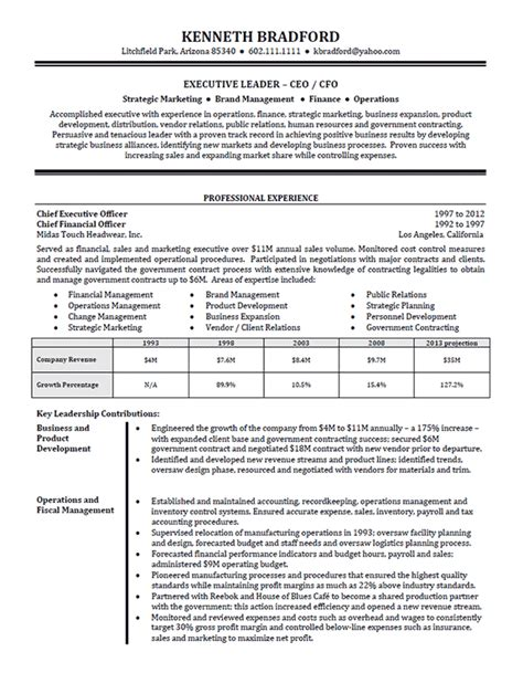 resume sles for finance executives high level executive resume exle sle