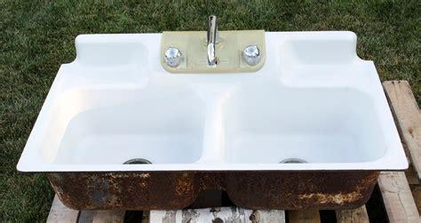 double porcelain kitchen sink vintage double bowl cast iron porcelain kitchen farm sink