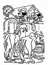 Mickey Coloring Pages Cowboy Ranch Minnie Farmer Mouse Disney Farm Working Colouring sketch template
