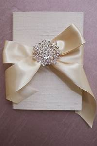 Silk folio custom wedding invitation with satin ribbon for Wedding invitations with ribbon and brooch