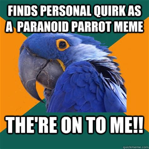 Paranoid Parrot Memes - finds personal quirk as a paranoid parrot meme the re on to me paranoid parrot quickmeme