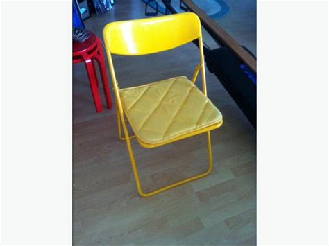 folding chairs x 3 quot ted quot ikea 2 red 1 yellow metal