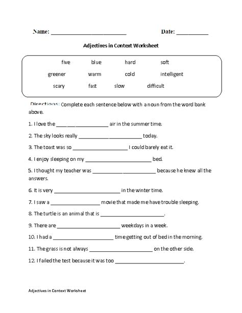 Regular Adjectives Worksheets  Adjectives In Context Worksheet