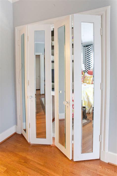 minimalist dressing room with mirrored bifold